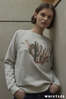 Whistles Grey Marl Cactus Embroidered Sweat