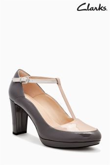 Clarks Grey Nude Kendra Daisy T-Bar Court Shoe