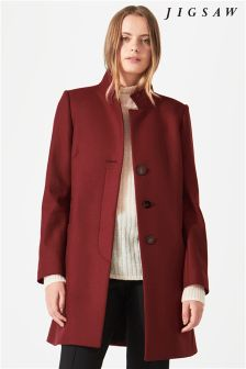 Jigsaw Red Pressed Flannel Funnel Neck Coat