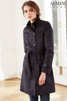 Armani Jeans Navy Faux Fur Lined Coat