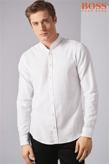 Boss Orange White Long Sleeve Grandad Shirt