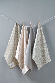 Set Of 4 Natural Petal Tea Towels