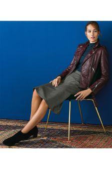 Check Asymmetric Hem Skirt