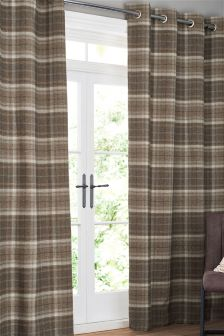 Burford Woven Check Eyelet Curtains