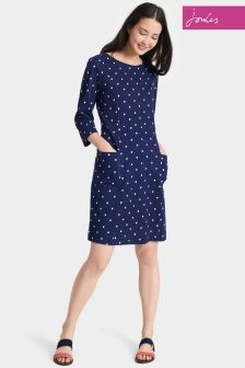 Joules Navy Spot Jody Printed Jersey Dress