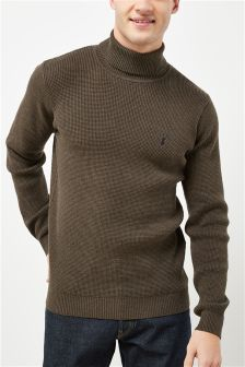 Waffle Knit Roll Neck