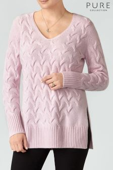 Pure Collection Soft Oyster Luxury Cable Cashmere Sweater