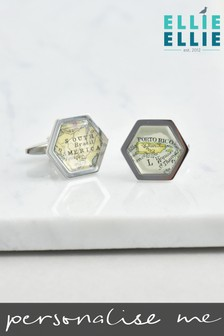 Personalised Hexagon Map Cufflinks By Ellie Ellie