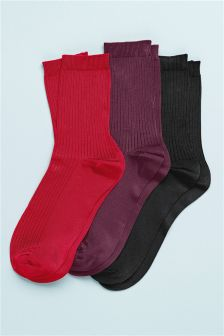 Rib Ankle Socks Three Pack