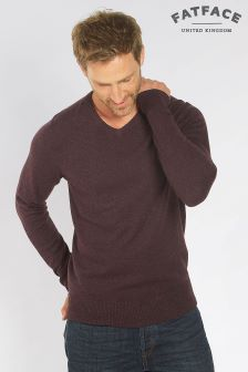 Fat Face Bilberry Cotton Cashmere V-Neck Jumper