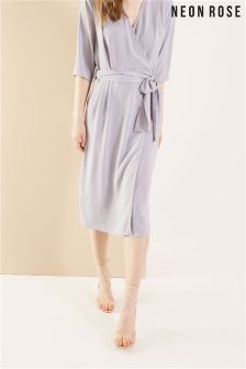 Neon Rose Grey Wrap Tie Midi Dress