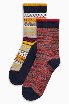 Fairisle Pattern Socks Two Pack (Older Boys)