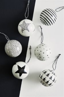 Set Of 6 Decoupage Baubles