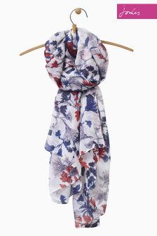 Joules Cream Fay Floral Woven Wensley Scarf