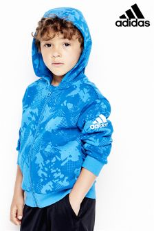 adidas Little Kids Blue Logo Zip Hoody