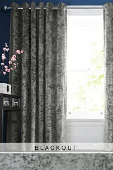 Crushed Velvet Eyelet Blackout Curtains