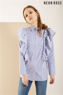 Neon Rose Blue Stripe Frill Shirt