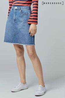 Warehouse Mid Wash Reconstructed Denim Skirt