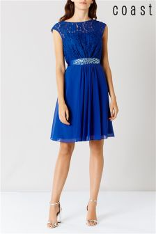 Coast Cobalt Lori Lee Lace Short Dress