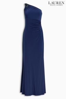 Lauren Ralph Lauren Dutch Blue Skylara One Shoulder Dress