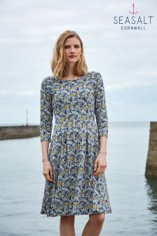 Seasalt Navy The Vintage Floral Night Print Mouls Dress