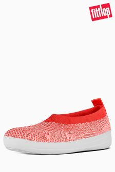 Fitflop™ Hot Coral/Neon Blush Uberknit Slip On Ballerina