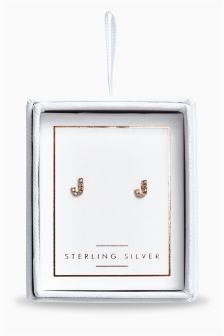 Rose Gold Plated Sparkle Initial Earrings