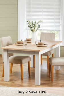 Malvern Cream Double Extending Dining Table