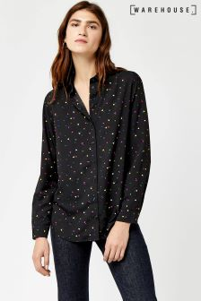 Warehouse Black Pattern Heart Print Shirt