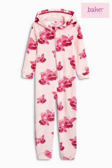Baker by Ted Baker Pink Floral Velour All-In-One