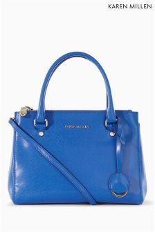 Karen Millen Blue Saffiano Leather Zip Bag