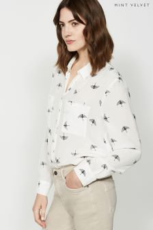 Mint Velvet Cream Bird Print Blouse