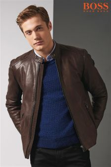 Boss Orange Brown Leather Jacket