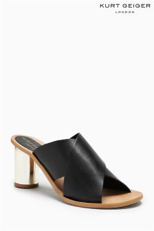 Kurt Geiger London Black Leather Aubrey Cross Mule
