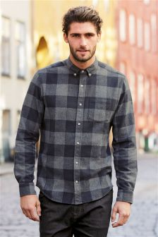 Buy Men's Shirts Check Long Sleeve Longsleeve from the Next UK ...