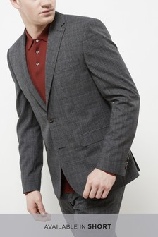 Textured Check Slim Fit Suit: Jacket