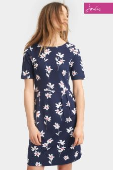 Joules French Navy Orchid Stretch Pleat Dress