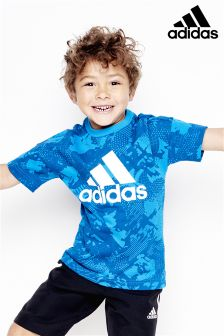 adidas Little Kids Blue Stack Logo T-Shirt