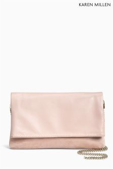 Karen Millen Nude Brompton Leather Clutch Bag