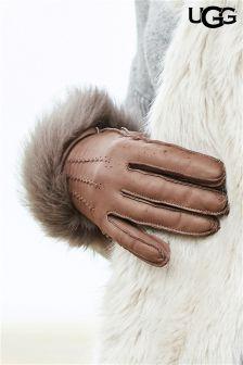 UGG® Stormy Grey Leather Long Toscana Trim Smart Glove