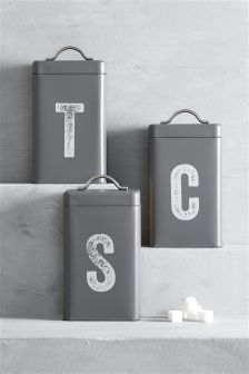 Set Of 3 Grey Storage Tins