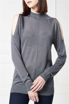 Metallic Cold Shoulder Sweater