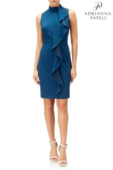 Adrianna Papell Blue Knit Crepe Mock Neck Sheath Dress