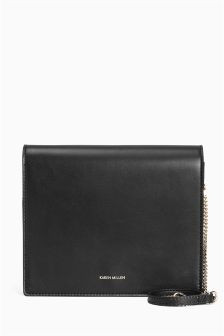Karen Millen Black Minimal Leather Fold Over Bag