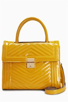 Patent Quilted Mini Tote Bag