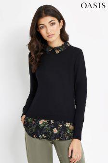 Oasis Black Rosetti Tails Shirt