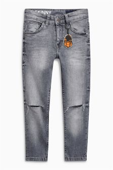 Five Pocket Ripped Jeans With Gorilla Keyring (3-16yrs)