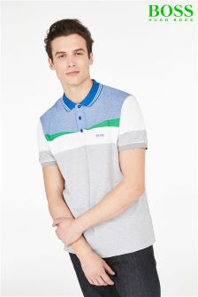 Boss Athleisure Grey/Blue Paddy 6 Colourblock Polo