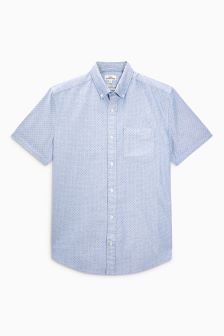 Short Sleeve Printed Dot Oxford Shirt