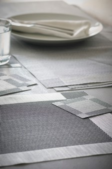 Set Of 4 Chrome Placemats And Coasters